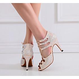 Women's Dance Shoes Latin Shoes / Ballroom Shoes / Line Dance Heel Ribbon Tie Slim High Heel Customizable Nude / Performance / Silk / Practice