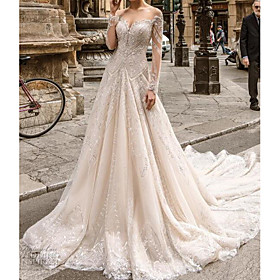 A-Line Wedding Dresses Jewel Neck Sweep / Brush Train Lace Tulle Long Sleeve Formal Sexy See-Through with Embroidery 2020