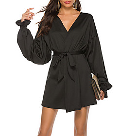 Women's A Line Dress - Long Sleeve Solid Color Summer V Neck Street chic Loose 2020 Black S M L XL XXL