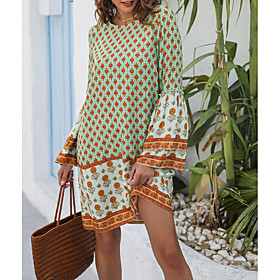 Women's Asymmetrical Sheath Dress - Short Sleeves Geometric Summer Elegant 2020 Green XS S M L