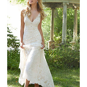 A-Line Wedding Dresses V Neck Watteau Train Lace Sleeveless Sexy Backless with Embroidery 2020