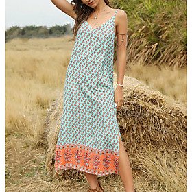 Women's Shirt Dress - Sleeveless Print Summer Strap Casual Slim 2020 Red Blushing Pink Green S M L XL