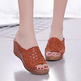 Women's Sandals / Slippers  Flip-Flops Wedge Sandals Summer Wedge Heel Open Toe Daily PU Black / Red / Brown