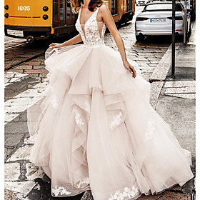 Ball Gown Wedding Dresses V Neck Floor Length Lace Tulle Sleeveless Formal Sexy See-Through with Embroidery Cascading Ruffles 2020