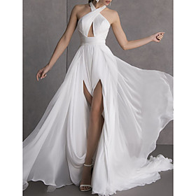 A-Line Wedding Dresses Halter Neck Sweep / Brush Train Chiffon Sleeveless Sexy See-Through with Split Front 2020