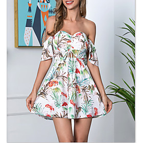 Women's A-Line Dress Short Mini Dress - Sleeveless Tropical Leaf Print Backless Ruched Summer Off Shoulder Strapless Casual Boho Holiday Beach Flare Cuff Sleev
