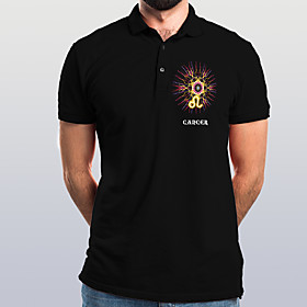 Men's Graphic Letter Polo Basic Elegant Daily Going out Black