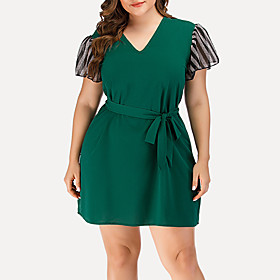 Women's A-Line Dress Short Mini Dress - Short Sleeve Striped Solid Color Mesh Patchwork Summer V Neck Plus Size Casual Streetwear Going out Flare Cuff Sleeve 2