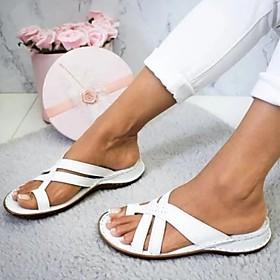 Women's Sandals Flat Sandal Summer Flat Heel Open Toe Daily PU Light Brown / White / Yellow