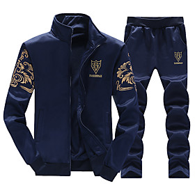 Men's 2-Piece Embroidered Tracksuit Sweatsuit Jogging Suit Casual Long Sleeve Elastane Lightweight Breathable Soft Gym Workout Running Sportswear Solid Colored