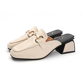 Women's Clogs  Mules Spring   Fall / Spring  Summer Block Heel Square Toe Casual Daily PU Black / Beige