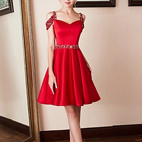 A-Line Cut Out Red Party Wear Cocktail Party Dress Spaghetti Strap Sleeveless Knee Length Satin with Pleats Crystals 2020