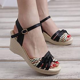 Women's Sandals Wedge Sandals Heel Sandals Summer Wedge Heel Open Toe Daily PU Black / Purple / Blue