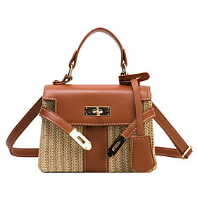 Women's Bags PU Leather / Straw Crossbody Bag Buttons Color Block for Daily White / Black / Blue / Yellow / Straw Bag