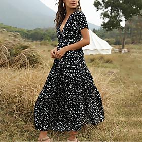 Women's Maxi Swing Dress - Short Sleeve Floral Print Summer Deep V Vacation White Blue Green S M L XL
