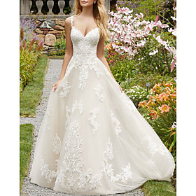 A-Line Wedding Dresses V Neck Spaghetti Strap Sweep / Brush Train Lace Tulle Sleeveless Country with Embroidery 2020