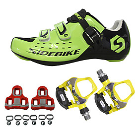 SIDEBIKE Adults' Cycling Shoes With Pedals  Cleats Road Bike Shoes Cushioning Cycling / Bike Green / Black Men's Women's Unisex Cycling Shoes / Breathable Mesh