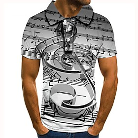 Men's 3D Graphic Polo Basic Daily Shirt Collar Light gray / Short Sleeve