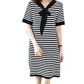 Women's Shift Dress - Short Sleeves Striped Summer Fall Boat Neck Casual 2020 Black Gray M L XL XXL XXXL