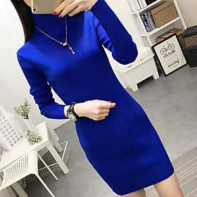 Women's Sweater Dress - Long Sleeve Solid Color Fall Winter Boat Neck Casual Elegant Slim 2020 Wine Black Red Royal Blue Gray M L XL XXL XXXL