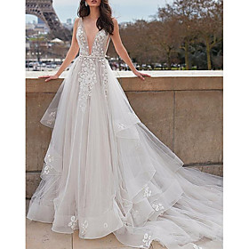 A-Line Wedding Dresses Plunging Neck Court Train Organza Tulle Sleeveless Beach Sexy See-Through with Sashes / Ribbons Appliques Cascading Ruffles 2020