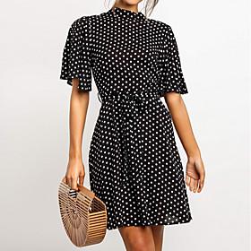 Women's A Line Dress - Short Sleeves Polka Dot Summer Elegant 2020 Black Navy Blue S M L XL XXL