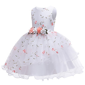 Toddler Girls' Flower Cute Jacquard Solid Colored Ruffle Lace Trims Sleeveless Knee-length Dress White