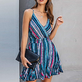 Women's A Line Dress - Sleeveless Geometric Summer V Neck Street chic 2020 Orange Light Blue S M L XL