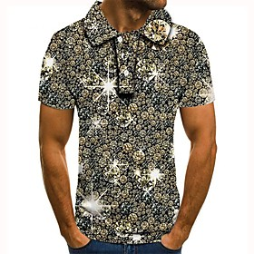 Men's 3D Graphic Polo Basic Daily Shirt Collar Yellow / Gray / Short Sleeve