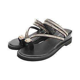 Women's Sandals / Slippers  Flip-Flops Wedge Sandals Summer Wedge Heel Open Toe Casual Daily Rhinestone Suede Gold / Silver