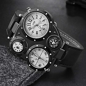 Men's Military Watch Quartz Sporty Stylish Fashion Water Resistant / Waterproof Analog Black WhiteGray Brown / One Year / Leather / Thermometer / Large Dial