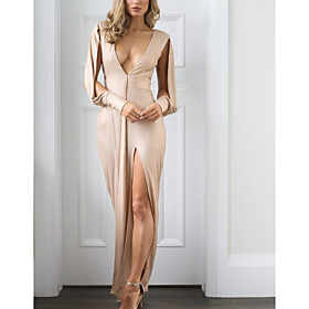 Sheath / Column Beautiful Back Sexy Party Wear Formal Evening Dress V Neck Long Sleeve Floor Length Satin with Split 2020