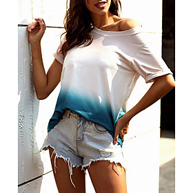 Women's Daily T-shirt Color Block Tie Dye Print Short Sleeve Tops Purple Gray Light Blue