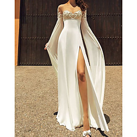 A-Line Wedding Dresses Jewel Neck Sweep / Brush Train Chiffon Lace Long Sleeve Sexy See-Through with Split Front 2020