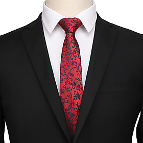 Men's Party / Work / Basic Necktie - Print / Jacquard / Solid Colored