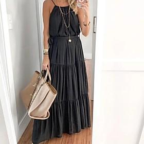 Women's A-Line Dress Maxi long Dress - Sleeveless Solid Color Summer Casual 2020 Black S M L XL XXL