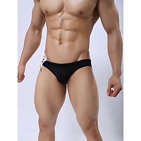 Men's Basic Bikini Bottoms Swimsuit Solid Colored Swimwear Bathing Suits Light Blue White Black Blue