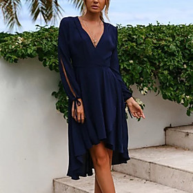 Women's A Line Dress - Long Sleeve Solid Color Summer Fall V Neck Elegant Street chic Party Lantern Sleeve Belt Not Included 2020 Red Navy Blue S M L XL