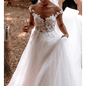 A-Line Wedding Dresses Jewel Neck Sweep / Brush Train Lace Tulle Short Sleeve Sexy See-Through with Embroidery Appliques 2020