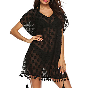 Women's Sundress Dress - Short Sleeves Solid Color Summer V Neck Sexy Loose Mesh Wine White Black Green One-Size