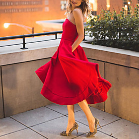 A-Line Elegant Vintage Party Wear Cocktail Party Dress Off Shoulder Sleeveless Tea Length Nylon Spandex with Ruffles 2020