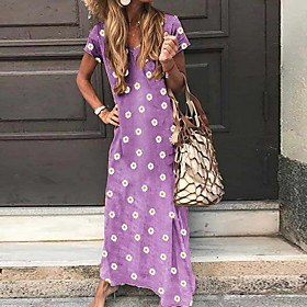 Women's Maxi Daisy Shift Dress - Short Sleeves Floral Summer V Neck Casual Floral Blue Purple Yellow Gray S M L XL XXL XXXL