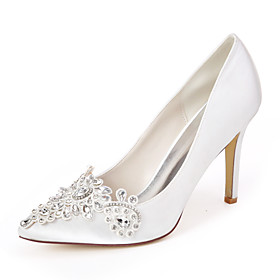 Women's Wedding Shoes Spring / Summer Stiletto Heel Pointed Toe Sweet Wedding Party  Evening Rhinestone Solid Colored Satin White / Purple / Dark Purple