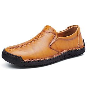 Men's Loafers  Slip-Ons Casual Daily Outdoor Walking Shoes Leather Wear Proof Wine / Light Brown / Dark Brown Spring / Fall