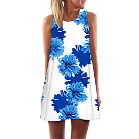 Women's Short Mini Dress Butterfly Shift Dress - Sleeveless Floral Geometric Color Block Summer Casual Party Going out 2020 White Black Blue Red Yellow Blushin