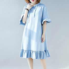 Women's A Line Dress - Half Sleeve Solid Color Ruffle Patchwork Spring Summer Vintage Daily Weekend Loose 2020 Black Light Blue XL XXL XXXL / Cotton