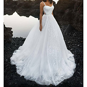 A-Line Wedding Dresses Sweetheart Neckline Spaghetti Strap Court Train Lace Tulle Sleeveless Sexy with Lace 2020