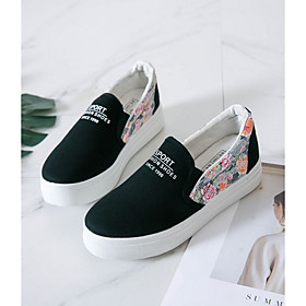 Women's Sneakers Spring  Summer Creepers Round Toe Daily Canvas White / Black