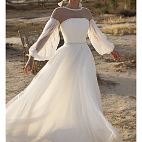 A-Line Wedding Dresses Jewel Neck Sweep / Brush Train Lace Chiffon Over Satin Long Sleeve Country See-Through with Sashes / Ribbons Beading 2020