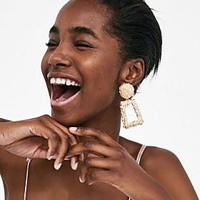 Women's Hoop Earrings Geometrical Precious Earrings Jewelry Rose Gold / Black / Yellow For Party